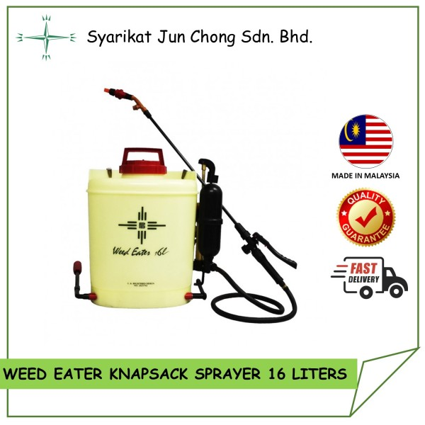 Knapsack Sprayer Weed Eater WE 16L CrossMark Professional Packing for Plantation With Additional Accessories like AirMix Nozzle, Adaptor & Control Valve
