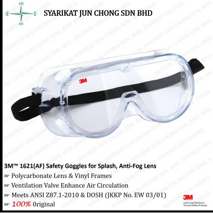 3M™ 1621AF Safety Goggles for Splash with Anti Fog Lens
