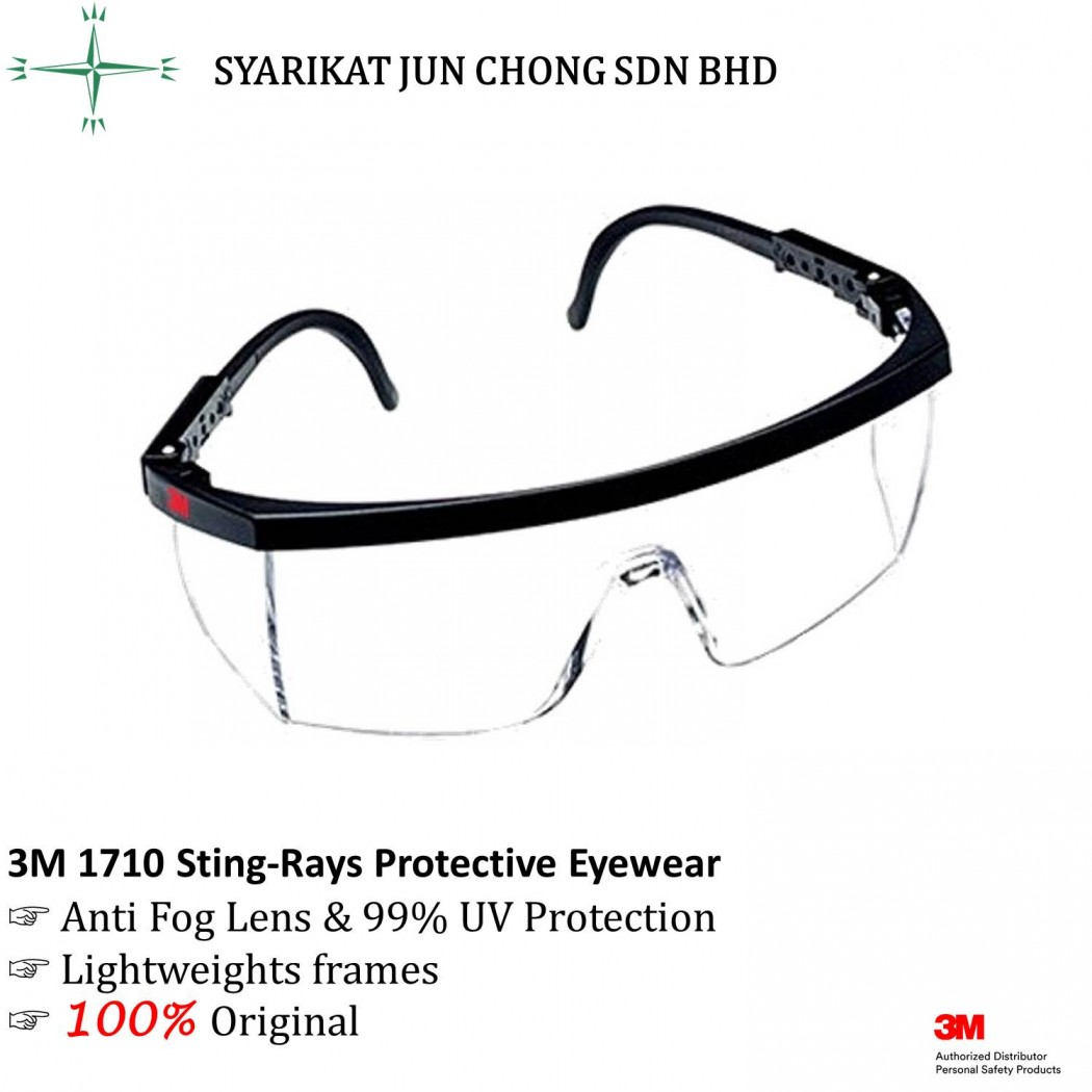 3M 1710 Sting-Rays Protective Eyewear with Anti Fog Lens and 99% UV Protection