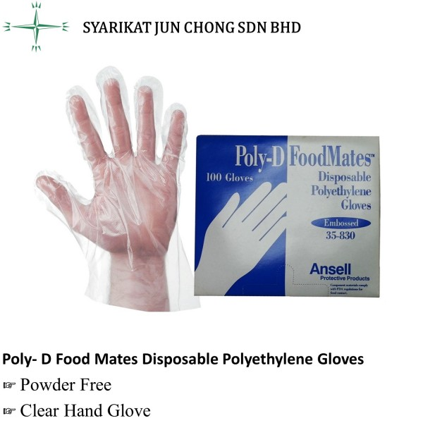 Poly-D Food Mates Disposable Polyethylene Gloves