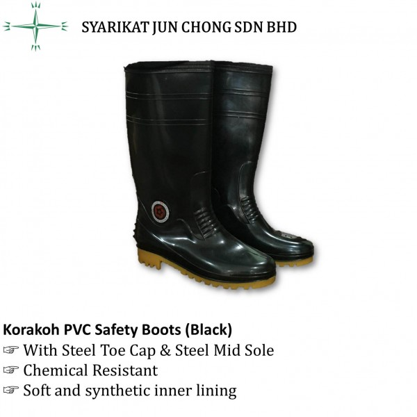 Korakoh PVC Safety Boots 7000 (Black)