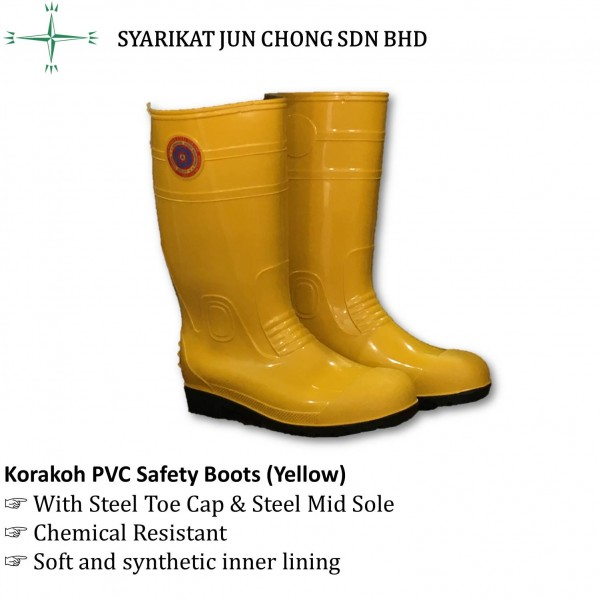Korakoh PVC Safety Boots with Steel Toe Cap & Steel Mid Sole (Yellow)