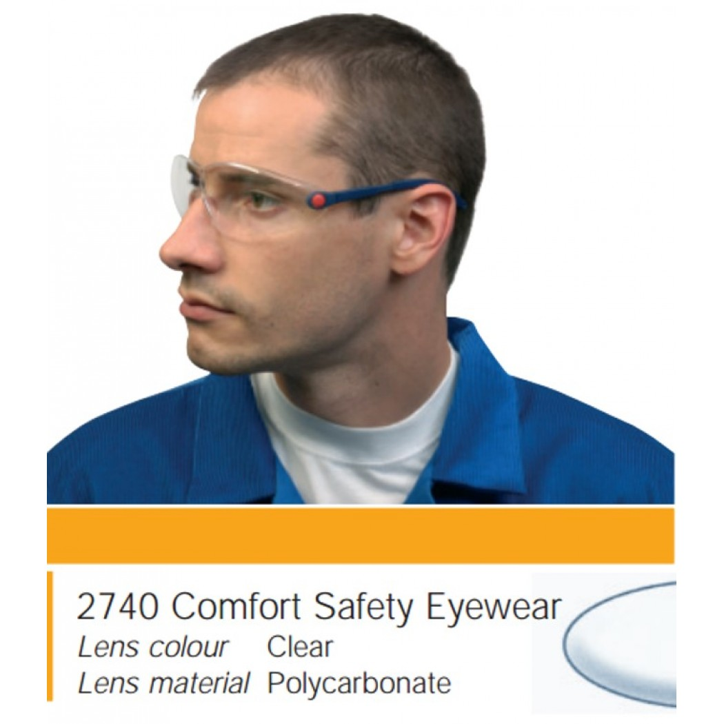 3M™ 2740 Safety Glasses, With Blue Temple