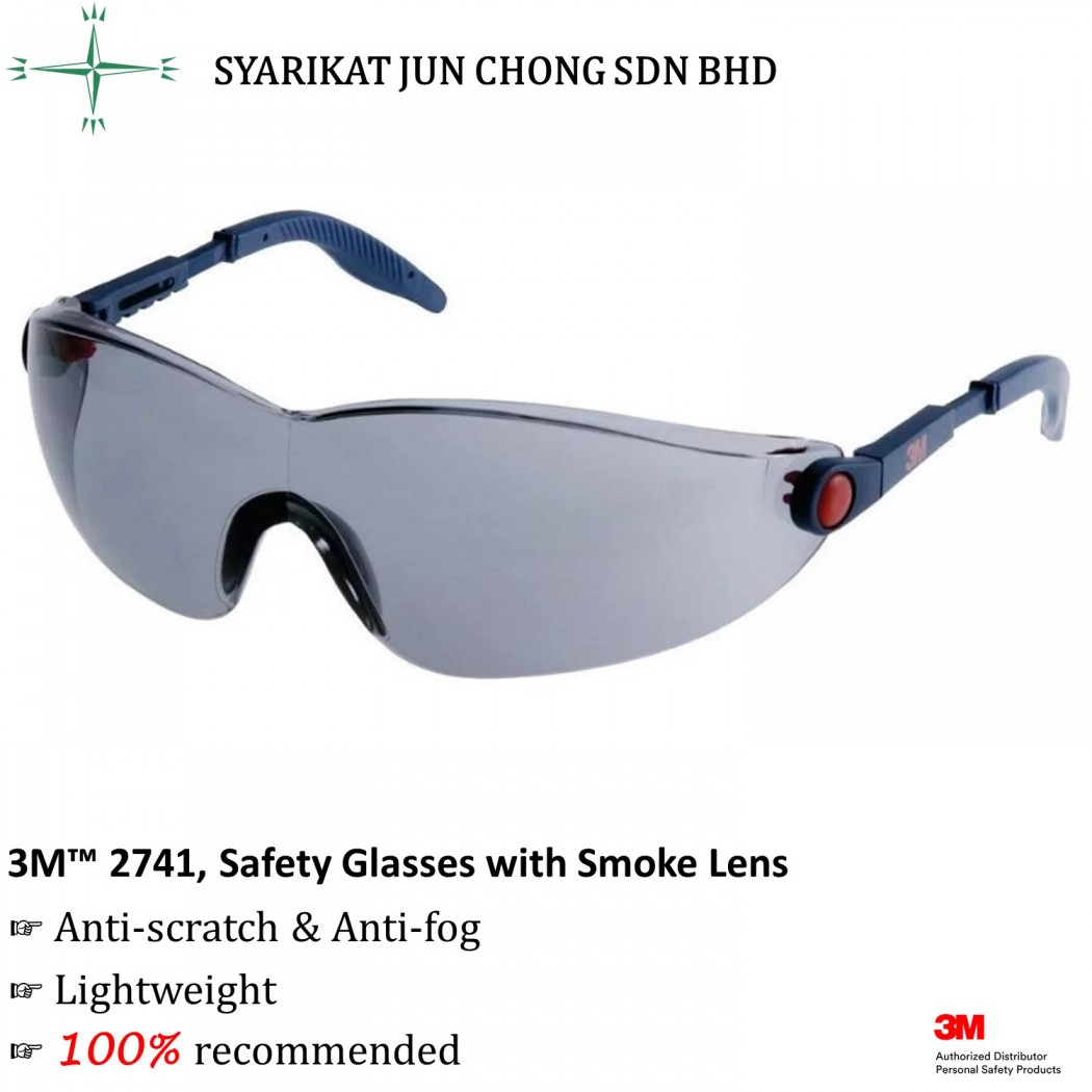 3M™ 2741 Safety Spectacles Grey Tint with Anti-Fog Lens and 99.9% UV Protection