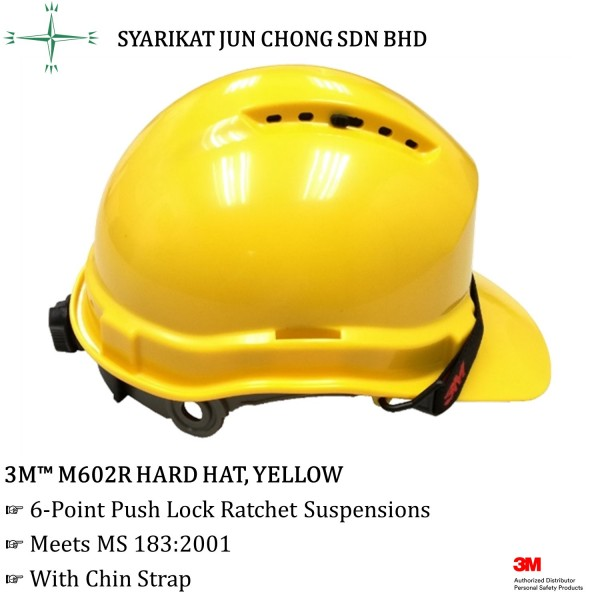3M™ M602R Hard Hat With 6-point Push Lock Ratchet Suspension, Yellow Color