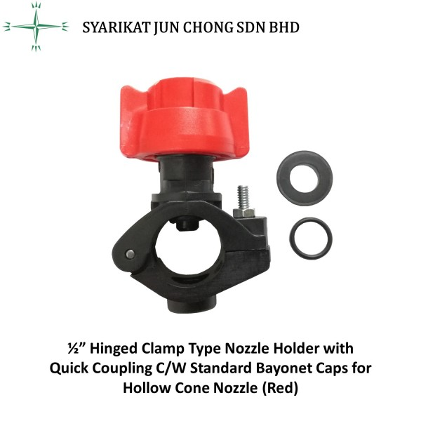 """½"""" Hinged Clamp Type Nozzle Holder with Quick Coupling C/W Standard Bayonet Caps for Hollow Cone Nozzle (Red)"""